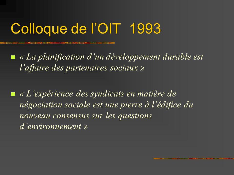 Colloque de lOIT 1993 « La planification dun développement durable est laffaire des partenaires sociaux » « Lexpérience des syndicats en matière de négociation sociale est une pierre à lédifice du nouveau consensus sur les questions denvironnement »
