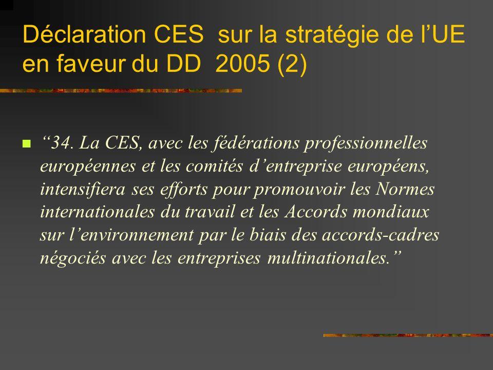 Déclaration CES sur la stratégie de lUE en faveur du DD 2005 (2) 34.