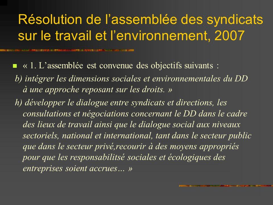 Résolution de lassemblée des syndicats sur le travail et lenvironnement, 2007 « 1.