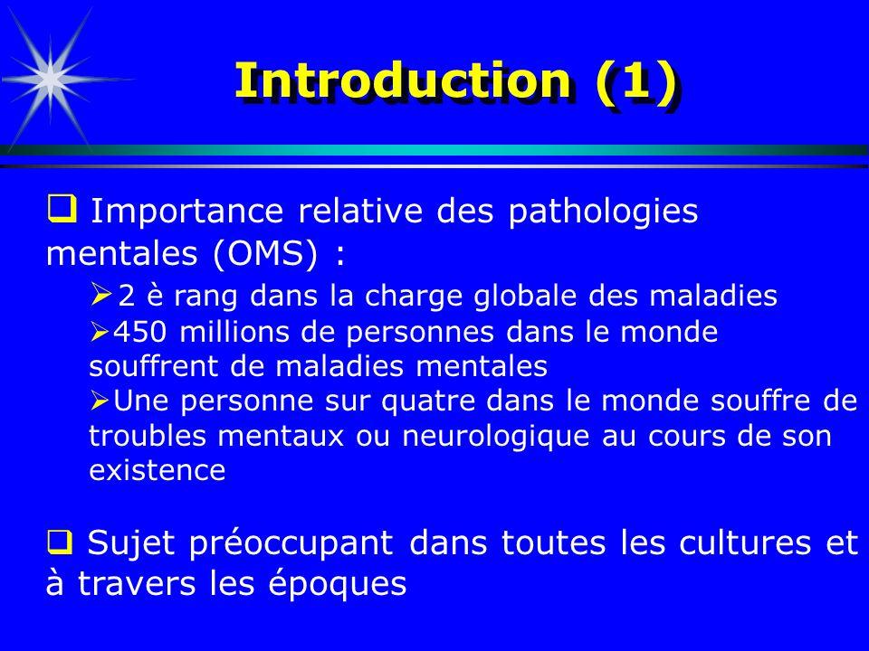 Introduction (1) Importance relative des pathologies mentales (OMS) : 2 è rang dans la charge globale des maladies 450 millions de personnes dans le m