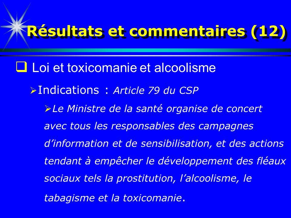 Résultats et commentaires (12) Loi et toxicomanie et alcoolisme Indications : Article 79 du CSP Le Ministre de la santé organise de concert avec tous