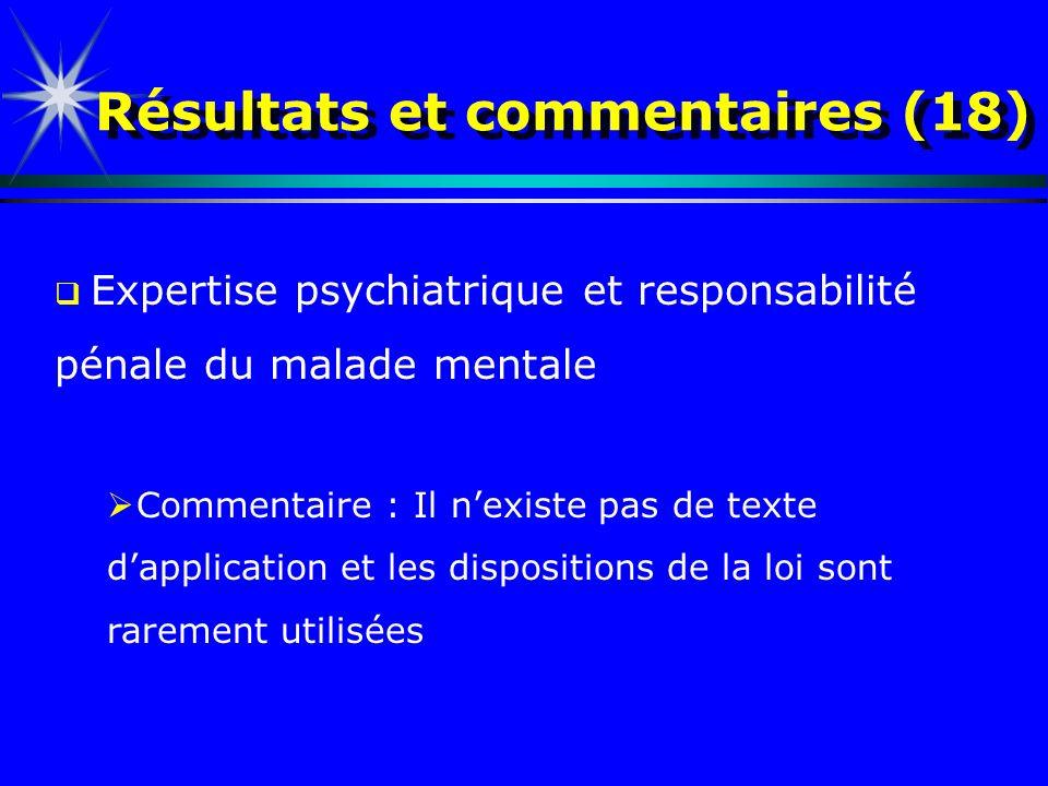 Résultats et commentaires (18) Expertise psychiatrique et responsabilité pénale du malade mentale Commentaire : Il nexiste pas de texte dapplication e