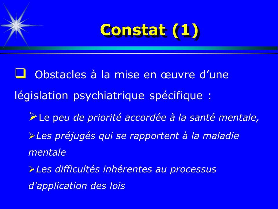 Constat (1) Obstacles à la mise en œuvre dune législation psychiatrique spécifique : Le peu de priorité accordée à la santé mentale, Les préjugés qui