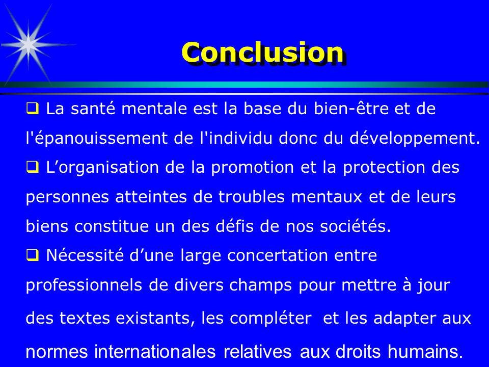 Conclusion La santé mentale est la base du bien-être et de l'épanouissement de l'individu donc du développement. Lorganisation de la promotion et la p