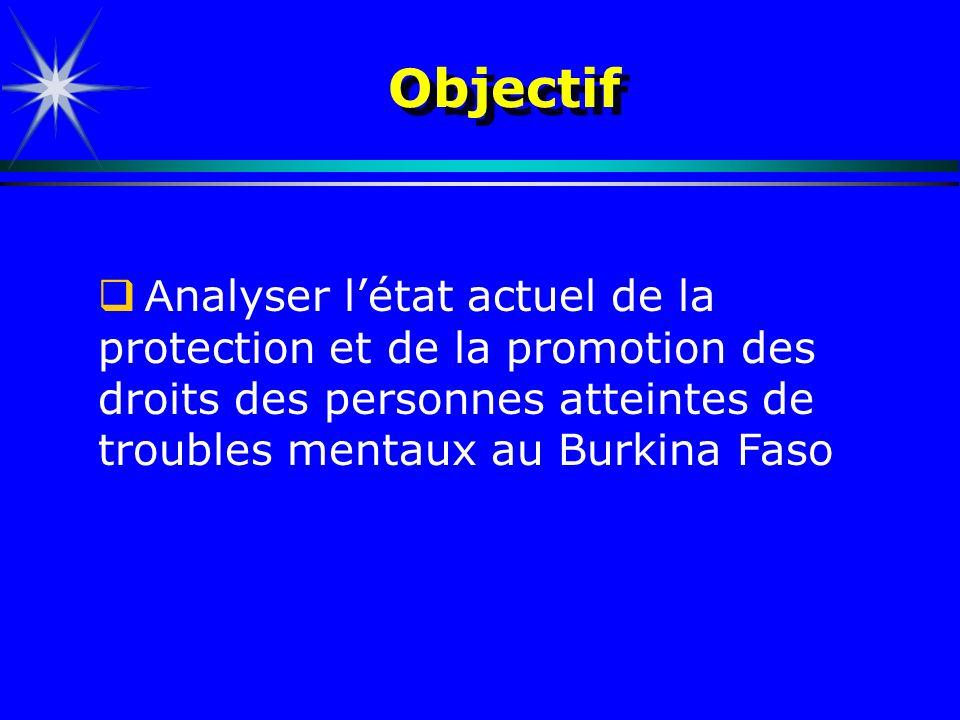 Objectif A nalyser létat actuel de la protection et de la promotion des droits des personnes atteintes de troubles mentaux au Burkina Faso
