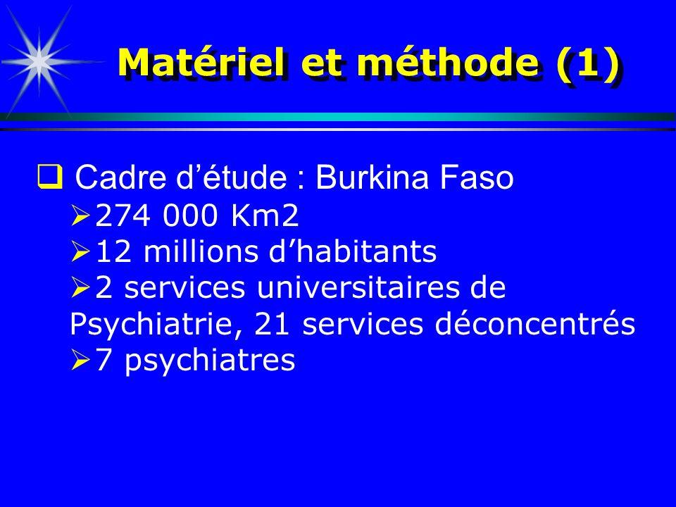 Matériel et méthode (1) Cadre détude : Burkina Faso 274 000 Km2 12 millions dhabitants 2 services universitaires de Psychiatrie, 21 services déconcent