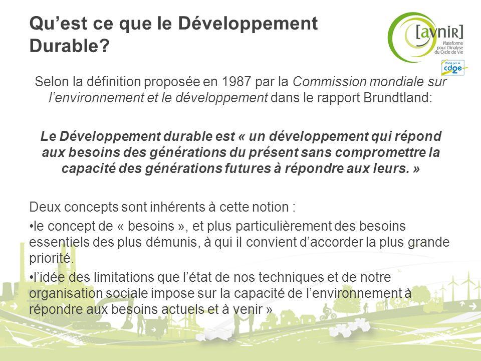 Quest ce que le Développement Durable? Selon la définition proposée en 1987 par la Commission mondiale sur lenvironnement et le développement dans le