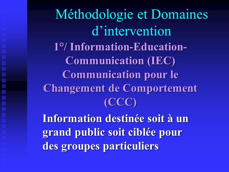 Méthodologie et Domaines dintervention 1°/ Information-Education- Communication (IEC) Communication pour le Changement de Comportement (CCC) Informati