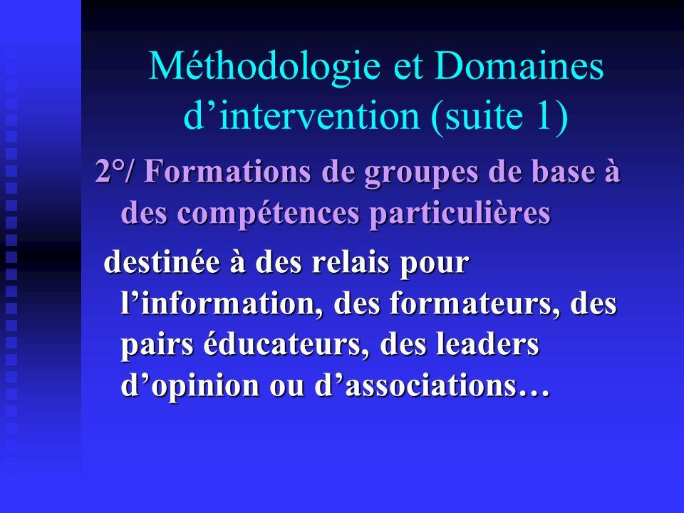 Méthodologie et Domaines dintervention (suite 1) 2°/ Formations de groupes de base à des compétences particulières destinée à des relais pour linforma