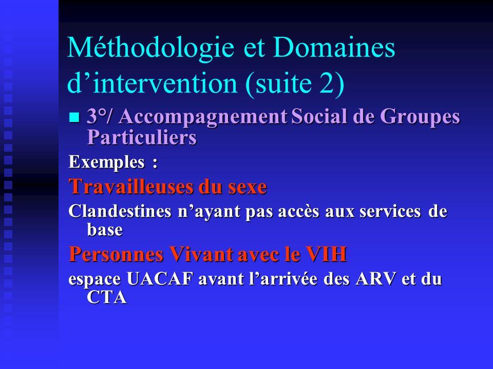 Méthodologie et Domaines dintervention (suite 2) 3°/ Accompagnement Social de Groupes Particuliers 3°/ Accompagnement Social de Groupes Particuliers E