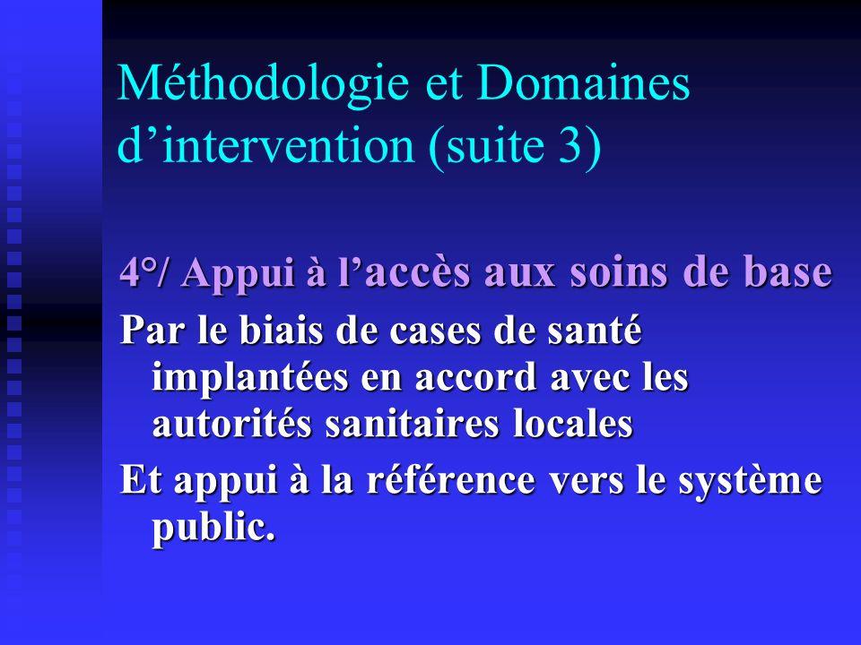 Méthodologie et Domaines dintervention (suite 3) 4°/ Appui à l accès aux soins de base Par le biais de cases de santé implantées en accord avec les au