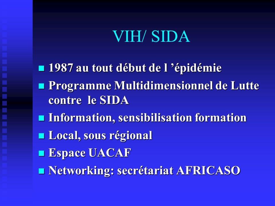 VIH/ SIDA 1987 au tout début de l épidémie 1987 au tout début de l épidémie Programme Multidimensionnel de Lutte contre le SIDA Programme Multidimensi