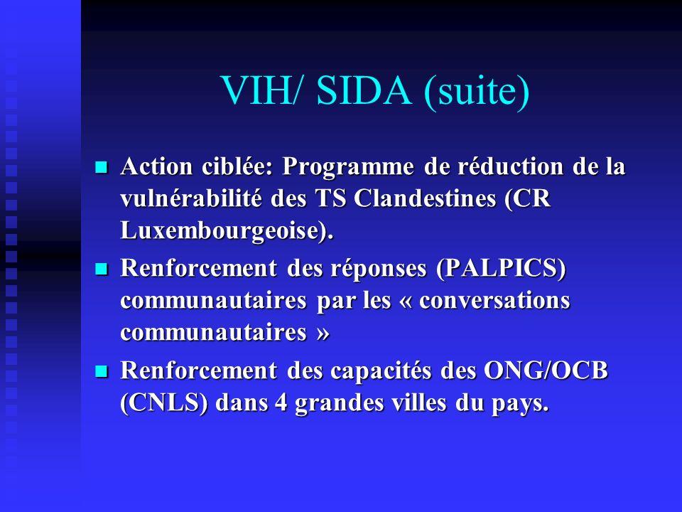 VIH/ SIDA (suite) Action ciblée: Programme de réduction de la vulnérabilité des TS Clandestines (CR Luxembourgeoise). Action ciblée: Programme de rédu