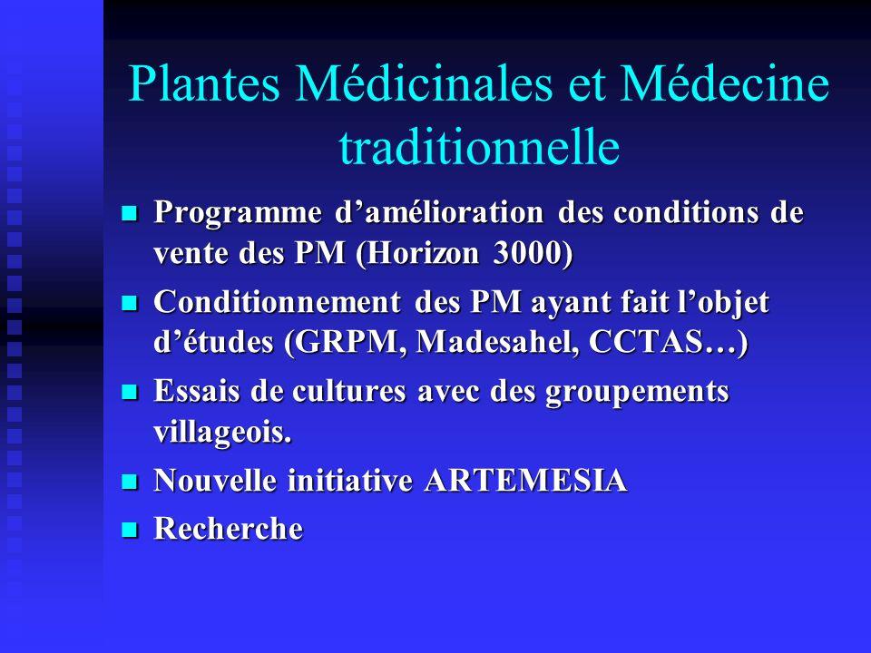 Plantes Médicinales et Médecine traditionnelle Programme damélioration des conditions de vente des PM (Horizon 3000) Programme damélioration des condi