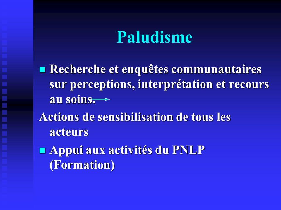 Paludisme Recherche et enquêtes communautaires sur perceptions, interprétation et recours au soins. Recherche et enquêtes communautaires sur perceptio