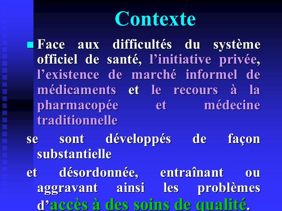 Contexte Face aux difficultés du système officiel de santé, linitiative privée, lexistence de marché informel de médicaments et le recours à la pharma