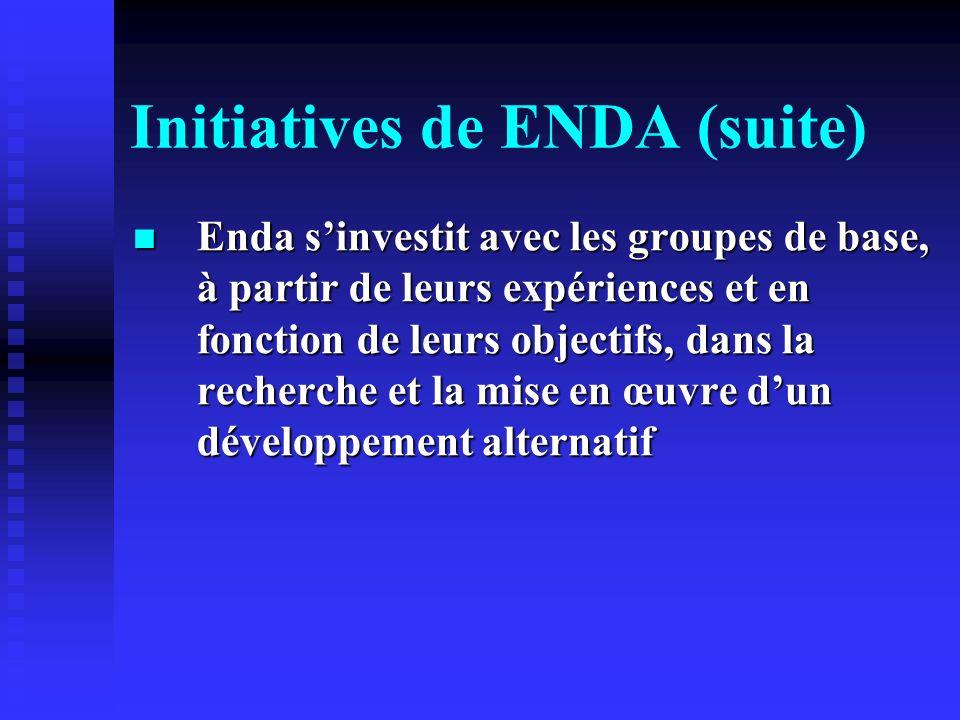 Initiatives de ENDA (suite) Enda sinvestit avec les groupes de base, à partir de leurs expériences et en fonction de leurs objectifs, dans la recherch