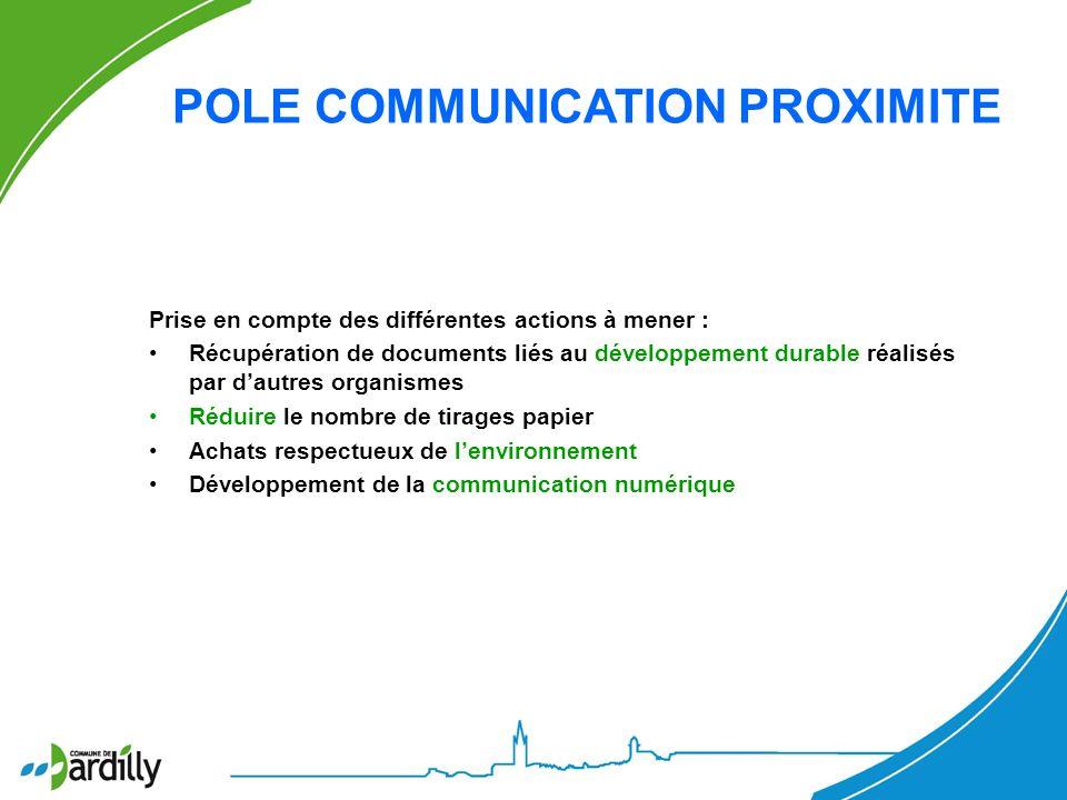 POLE COMMUNICATION PROXIMITE Prise en compte des différentes actions à mener : Récupération de documents liés au développement durable réalisés par da