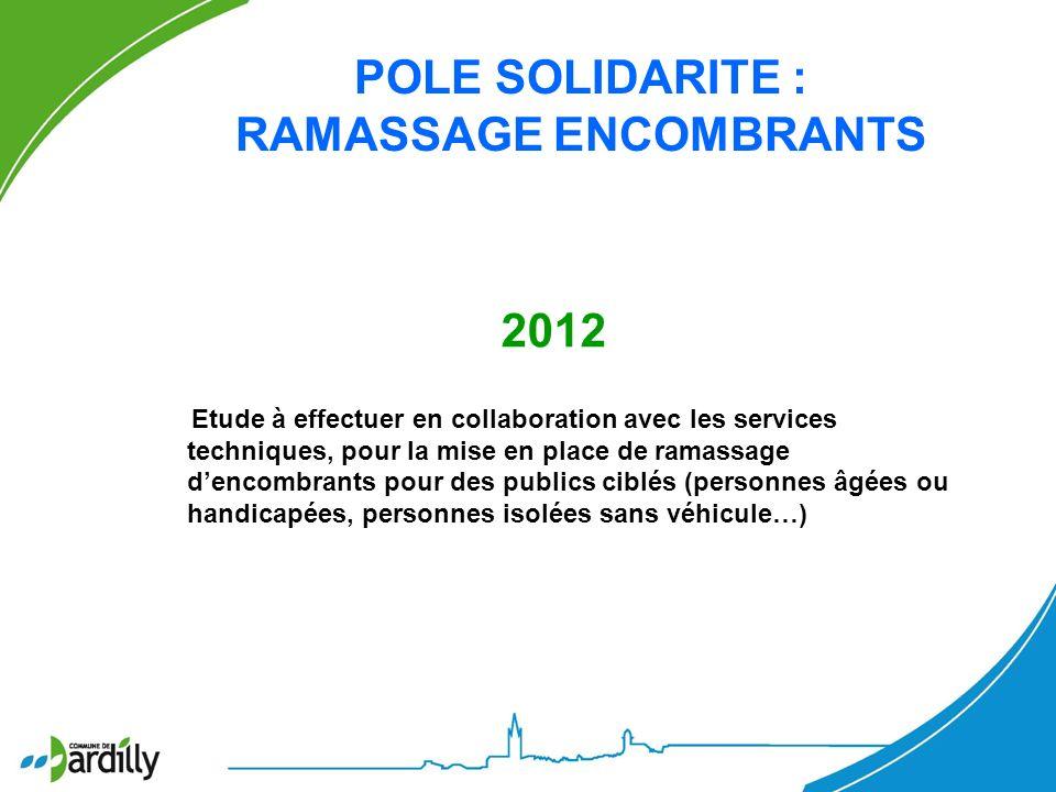 POLE SOLIDARITE : RAMASSAGE ENCOMBRANTS 2012 Etude à effectuer en collaboration avec les services techniques, pour la mise en place de ramassage denco