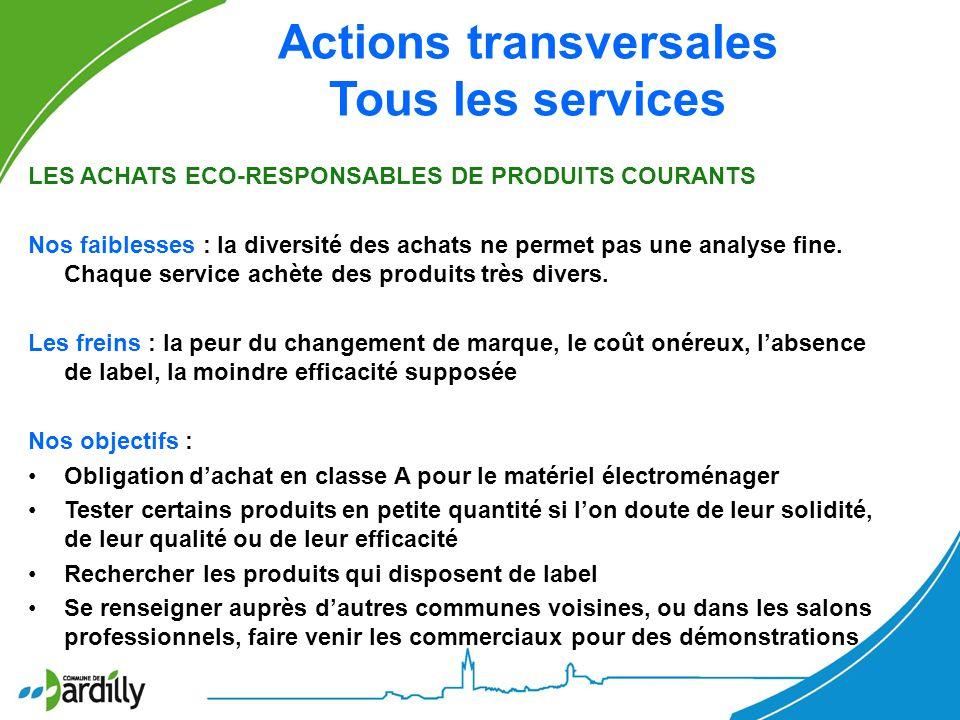 Actions transversales Tous les services LES ACHATS ECO-RESPONSABLES DE PRODUITS COURANTS Nos faiblesses : la diversité des achats ne permet pas une an