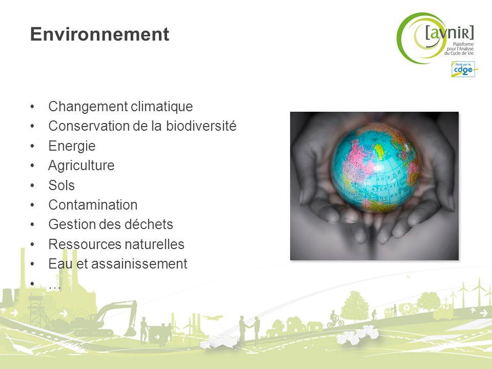 Environnement Changement climatique Conservation de la biodiversité Energie Agriculture Sols Contamination Gestion des déchets Ressources naturelles E