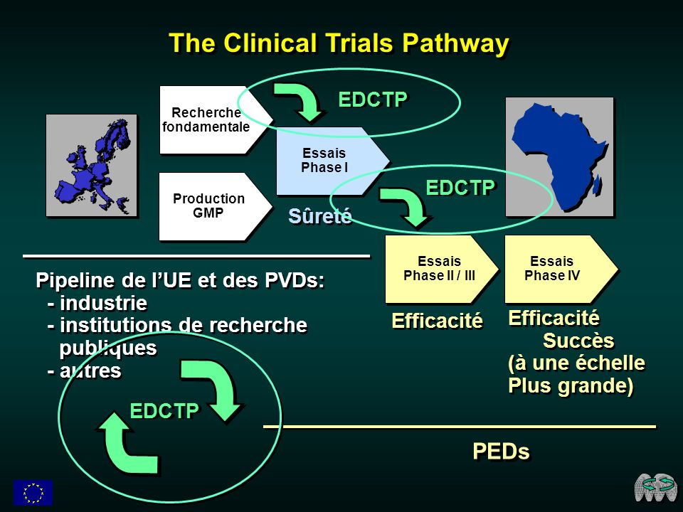 Production GMP Recherche fondamentale Essais Phase I Sûreté Pipeline de lUE et des PVDs: - industrie - institutions de recherche publiques - autres Pipeline de lUE et des PVDs: - industrie - institutions de recherche publiques - autres Essais Phase II / III Efficacité Essais Phase IV Efficacité Succès (à une échelle Plus grande) Efficacité Succès (à une échelle Plus grande) PEDs The Clinical Trials Pathway EDCTP