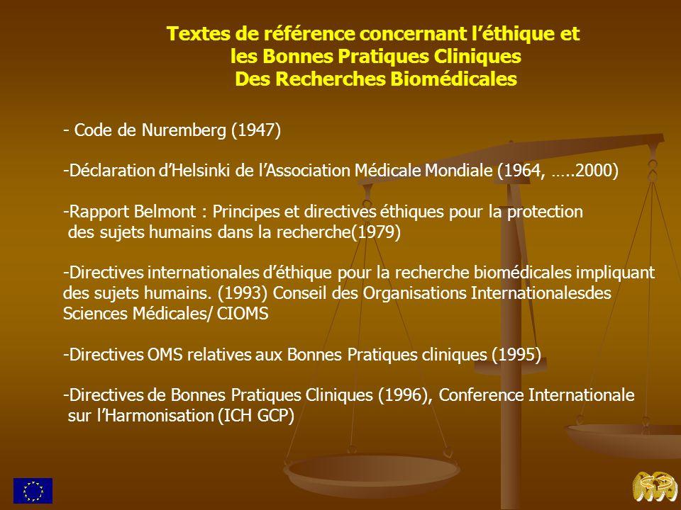 Textes de référence concernant léthique et les Bonnes Pratiques Cliniques Des Recherches Biomédicales - Code de Nuremberg (1947) -Déclaration dHelsink