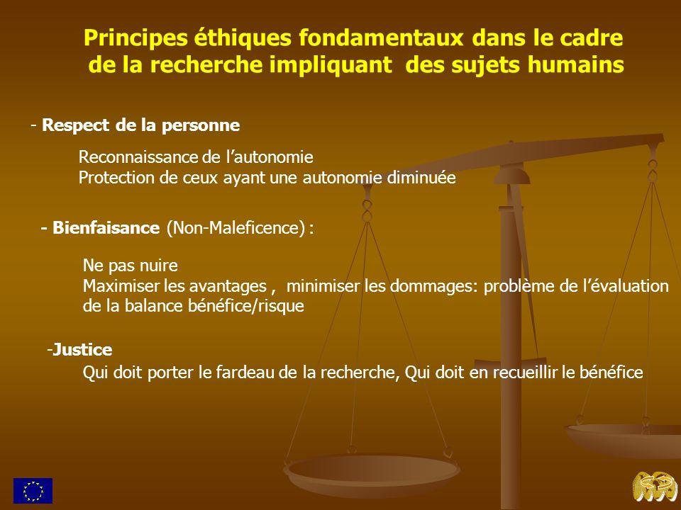 Principes éthiques fondamentaux dans le cadre de la recherche impliquant des sujets humains - Respect de la personne Reconnaissance de lautonomie Prot