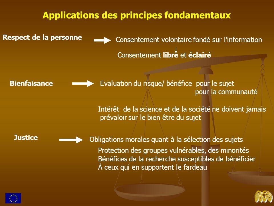 Applications des principes fondamentaux Respect de la personne Consentement volontaire fondé sur linformation Consentement libre et éclairé Bienfaisan