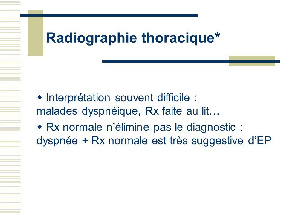 Radiographie thoracique* Interprétation souvent difficile : malades dyspnéique, Rx faite au lit… Rx normale nélimine pas le diagnostic : dyspnée + Rx
