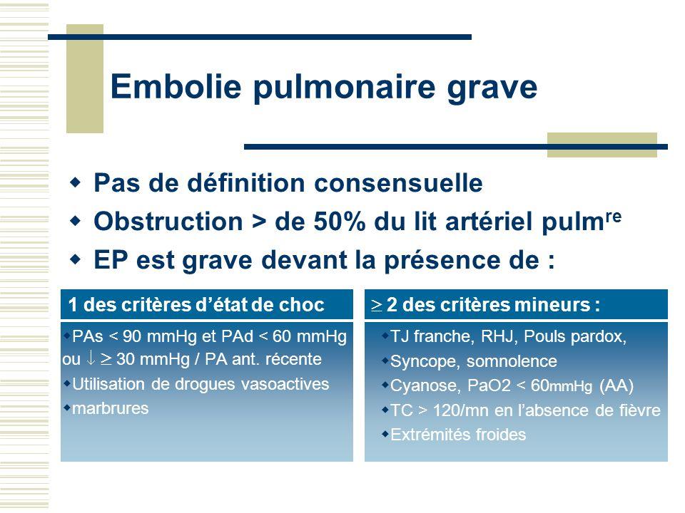 Embolie pulmonaire grave PAs < 90 mmHg et PAd < 60 mmHg ou 30 mmHg / PA ant. récente Utilisation de drogues vasoactives marbrures TJ franche, RHJ, Pou