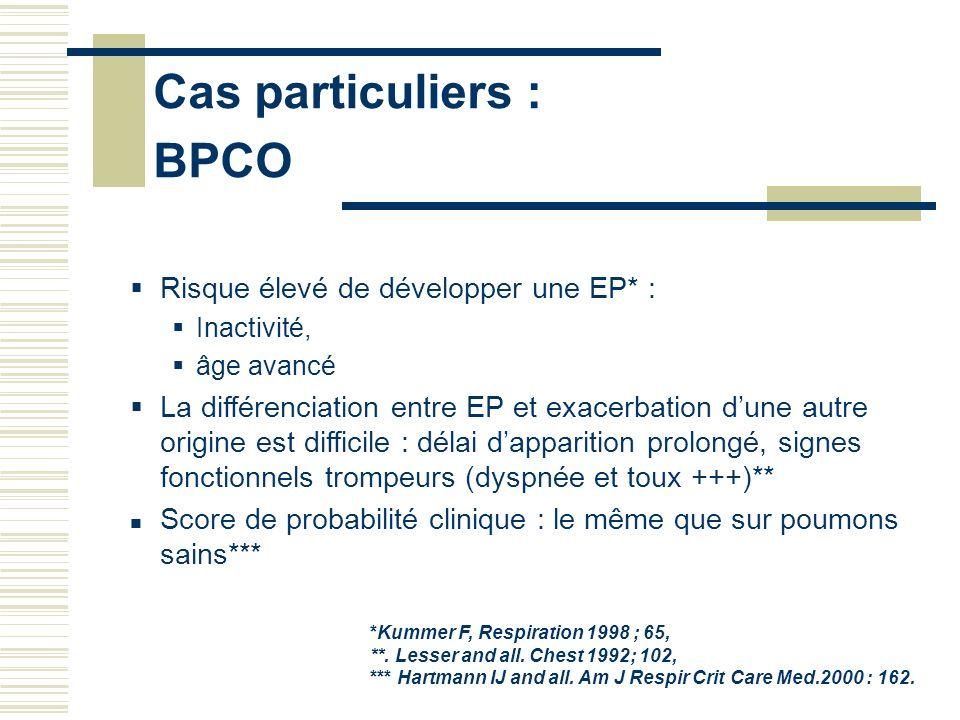 Cas particuliers : BPCO Risque élevé de développer une EP* : Inactivité, âge avancé La différenciation entre EP et exacerbation dune autre origine est