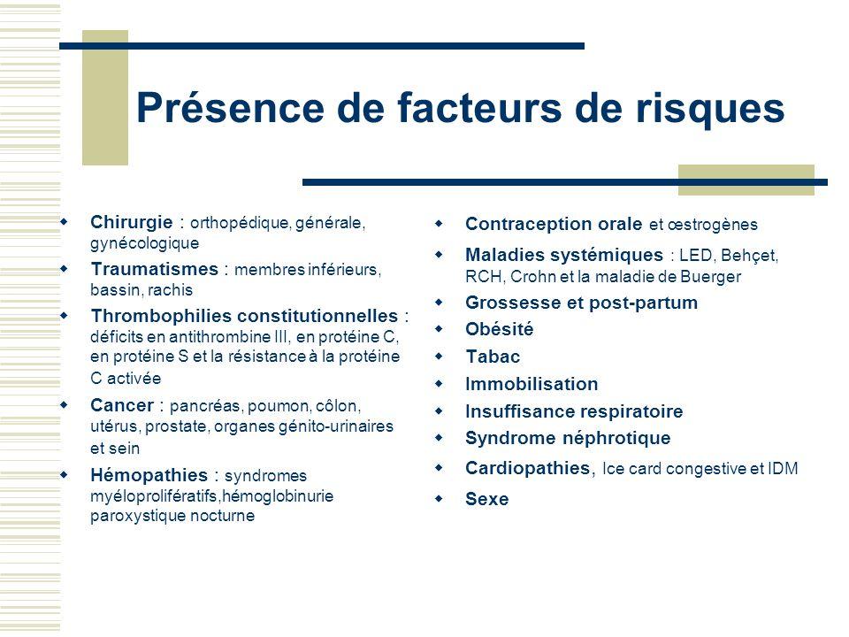 Présence de facteurs de risques Chirurgie : orthopédique, générale, gynécologique Traumatismes : membres inférieurs, bassin, rachis Thrombophilies con
