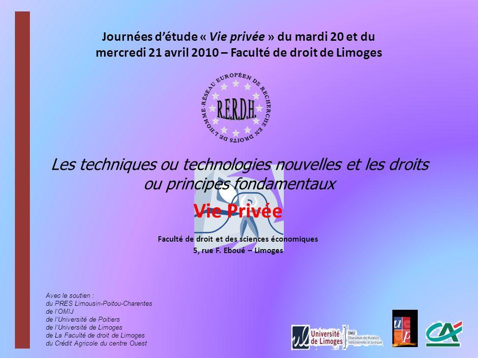 Vie Privée Faculté de droit et des sciences économiques 5, rue F.