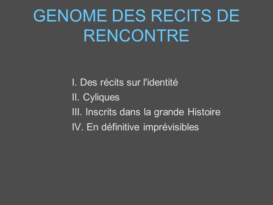 GENOME DES RECITS DE RENCONTRE I. Des récits sur l'identité II. Cyliques III. Inscrits dans la grande Histoire IV. En définitive imprévisibles