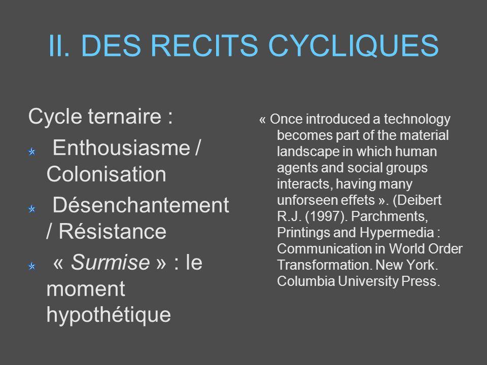 II. DES RECITS CYCLIQUES Cycle ternaire : Enthousiasme / Colonisation Désenchantement / Résistance « Surmise » : le moment hypothétique « Once introdu