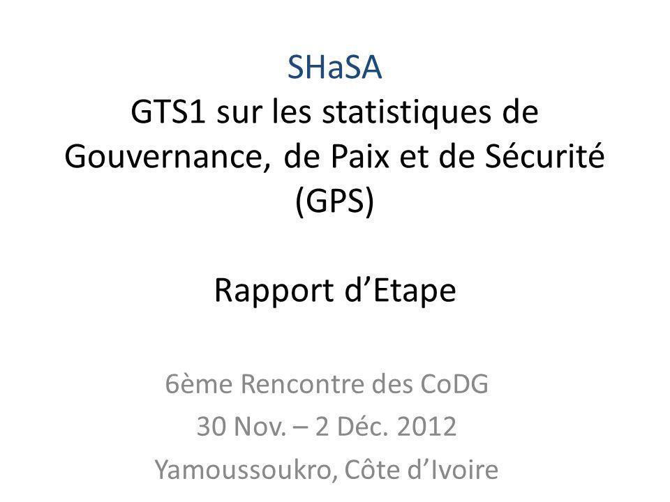 6ème Rencontre des CoDG 30 Nov. – 2 Déc. 2012 Yamoussoukro, Côte dIvoire SHaSA GTS1 sur les statistiques de Gouvernance, de Paix et de Sécurité (GPS)