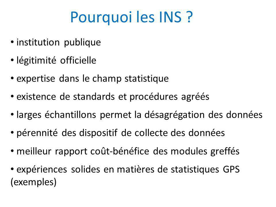 Pourquoi les INS ? institution publique légitimité officielle expertise dans le champ statistique existence de standards et procédures agréés larges é