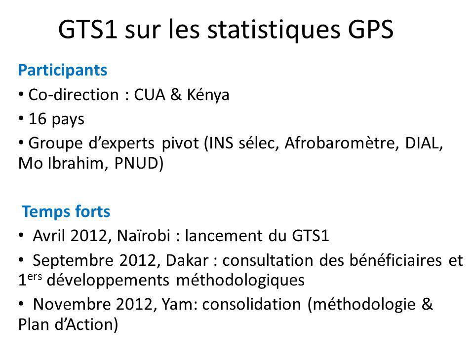 GTS1 sur les statistiques GPS Participants Co-direction : CUA & Kénya 16 pays Groupe dexperts pivot (INS sélec, Afrobaromètre, DIAL, Mo Ibrahim, PNUD)