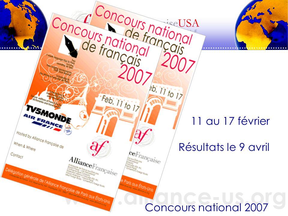 www.alliance-us.org Concours national 2007 11 au 17 février Résultats le 9 avril