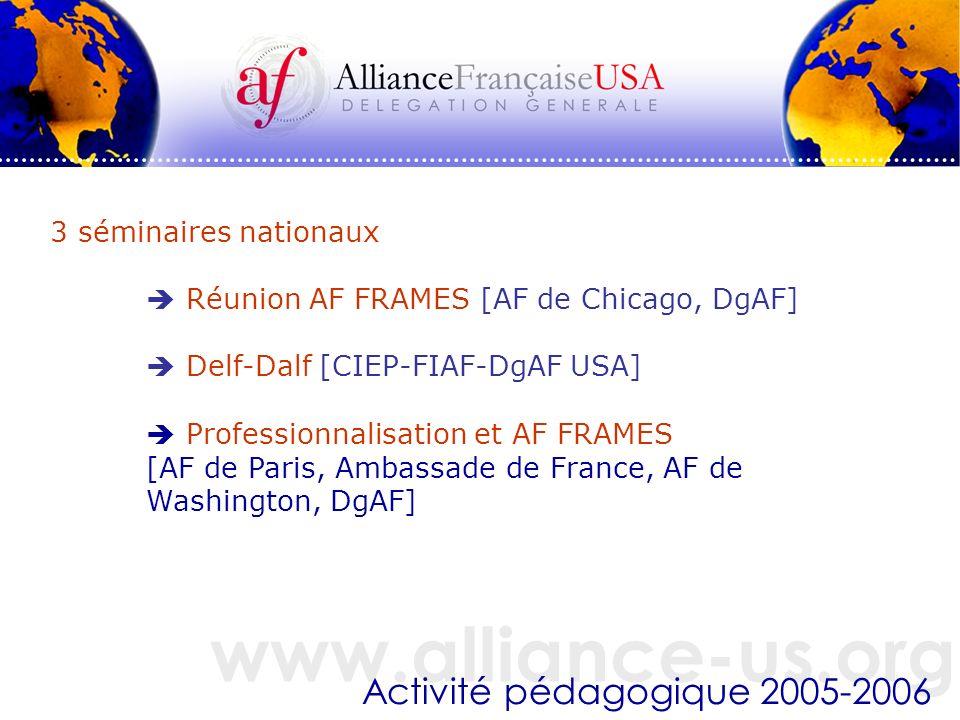 www.alliance-us.org Activité pédagogique 2005-2006 3 séminaires nationaux Réunion AF FRAMES [AF de Chicago, DgAF] Delf-Dalf [CIEP-FIAF-DgAF USA] Professionnalisation et AF FRAMES [AF de Paris, Ambassade de France, AF de Washington, DgAF]