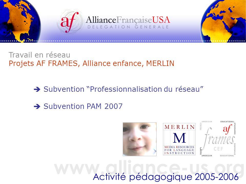www.alliance-us.org Activité pédagogique 2005-2006 Travail en réseau Projets AF FRAMES, Alliance enfance, MERLIN Subvention Professionnalisation du réseau Subvention PAM 2007