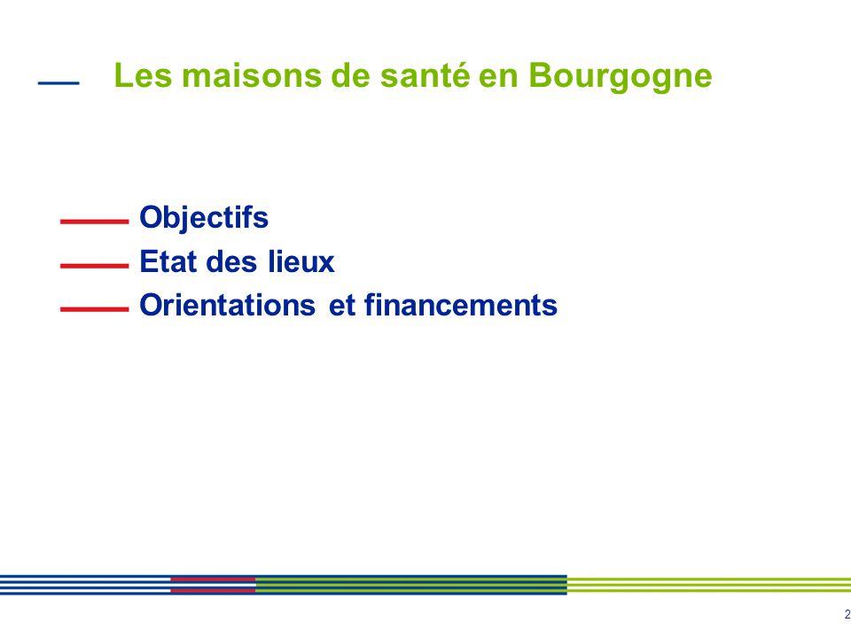 2 Les maisons de santé en Bourgogne Objectifs Etat des lieux Orientations et financements