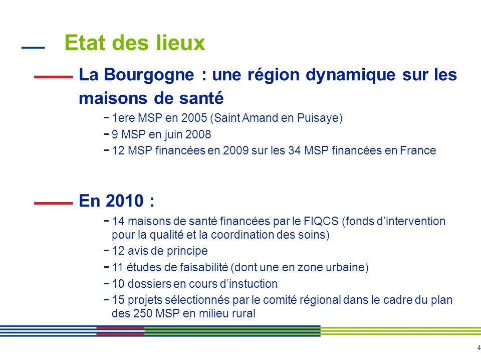 4 Etat des lieux La Bourgogne : une région dynamique sur les maisons de santé - 1ere MSP en 2005 (Saint Amand en Puisaye) - 9 MSP en juin 2008 - 12 MSP financées en 2009 sur les 34 MSP financées en France En 2010 : - 14 maisons de santé financées par le FIQCS (fonds dintervention pour la qualité et la coordination des soins) - 12 avis de principe - 11 études de faisabilité (dont une en zone urbaine) - 10 dossiers en cours dinstuction - 15 projets sélectionnés par le comité régional dans le cadre du plan des 250 MSP en milieu rural