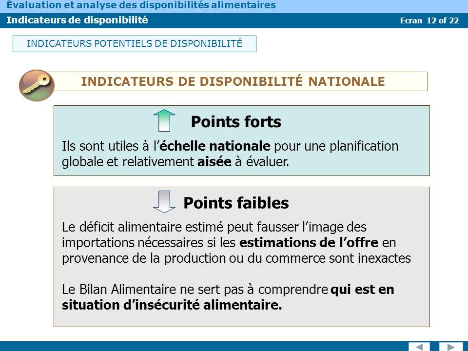 Ecran 12 of 22 Évaluation et analyse des disponibilités alimentaires Indicateurs de disponibilité INDICATEURS DE DISPONIBILITÉ NATIONALE Le déficit al