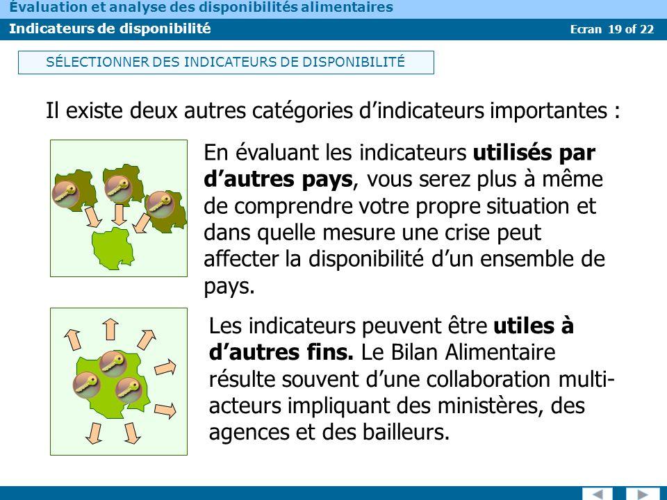 Ecran 19 of 22 Évaluation et analyse des disponibilités alimentaires Indicateurs de disponibilité Il existe deux autres catégories dindicateurs import