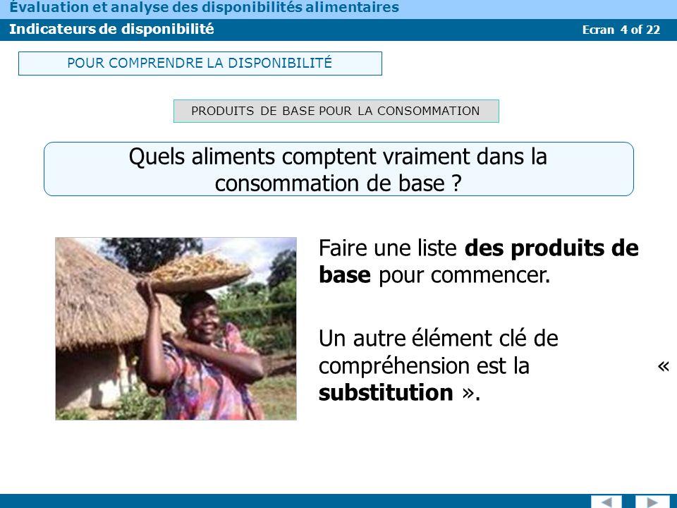 Ecran 4 of 22 Évaluation et analyse des disponibilités alimentaires Indicateurs de disponibilité PRODUITS DE BASE POUR LA CONSOMMATION Faire une liste