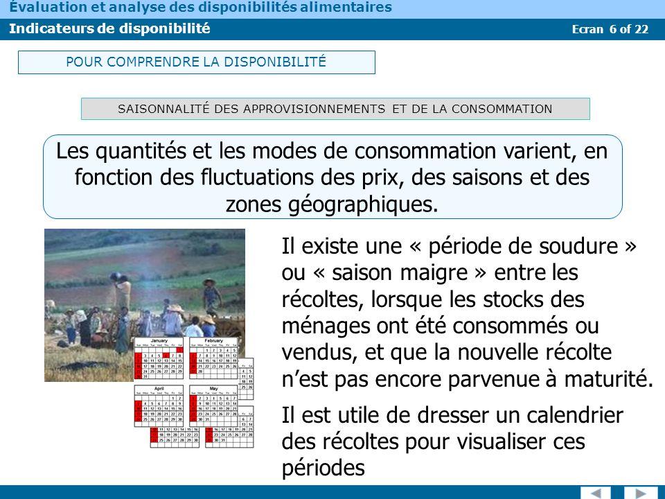 Ecran 6 of 22 Évaluation et analyse des disponibilités alimentaires Indicateurs de disponibilité SAISONNALITÉ DES APPROVISIONNEMENTS ET DE LA CONSOMMA