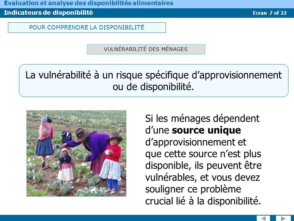 Ecran 7 of 22 Évaluation et analyse des disponibilités alimentaires Indicateurs de disponibilité VULNÉRABILITÉ DES MÉNAGES Si les ménages dépendent du