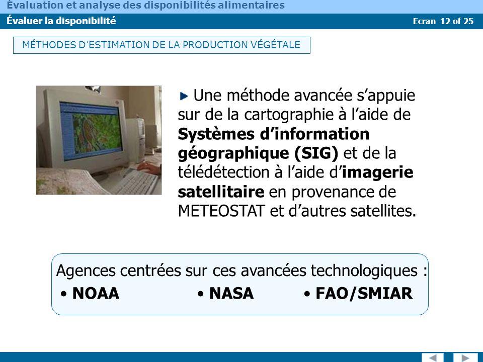 Ecran 12 of 25 Évaluation et analyse des disponibilités alimentaires Évaluer la disponibilité Une méthode avancée sappuie sur de la cartographie à lai